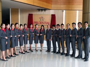 Prudential, British life insurance company staff pose in Laos