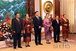 President Vorachit, Prime Minister Sisoulith, Vice President Viphavanh and spouses receives guests from the international community at the Presidential Palace in Vientiane