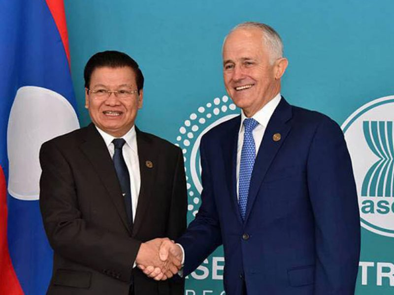 PM Thongloun Sisoulith and PM Malcolm Turnbull
