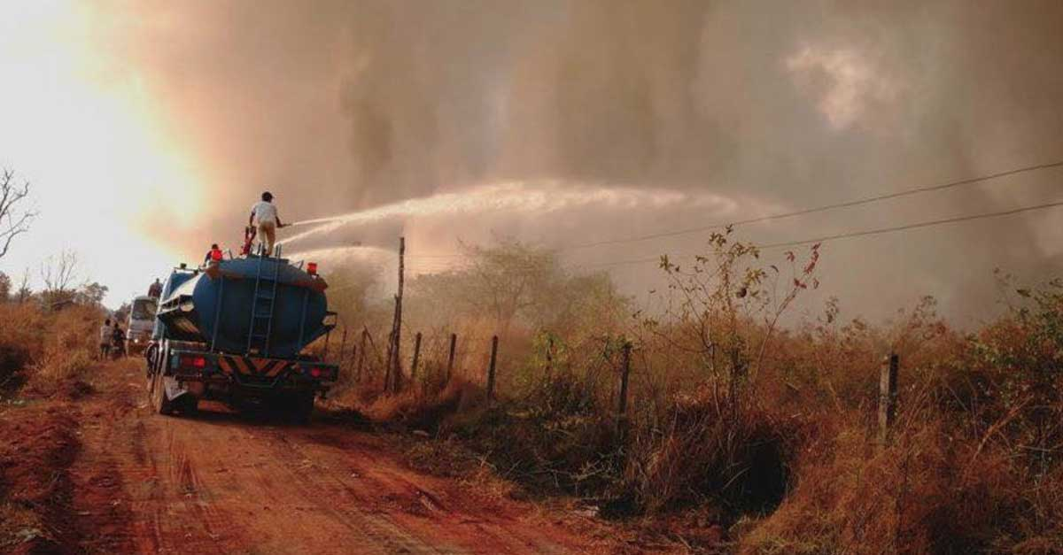 fire at Vientiane capital landfill