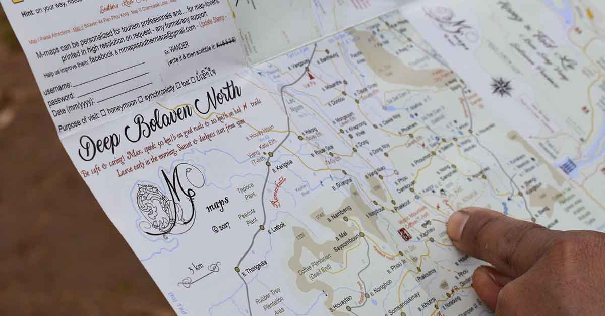 Tourist Map of Bolaven, Champasak Province