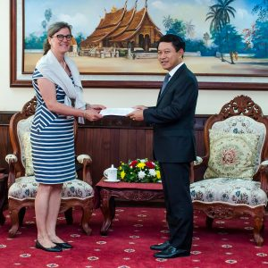 Minister of Foreign Affairs Mr. Saleumxay Kommasith accepts credentials of United Nations Country Representative Ms. Sara Sekkenes on May 3, 2019