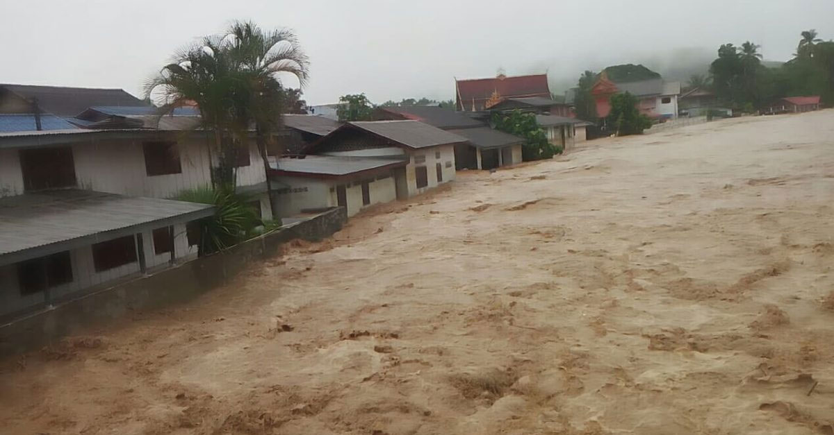 Flash floods nearly reach the rooftops in Nan District, Luang Prabang