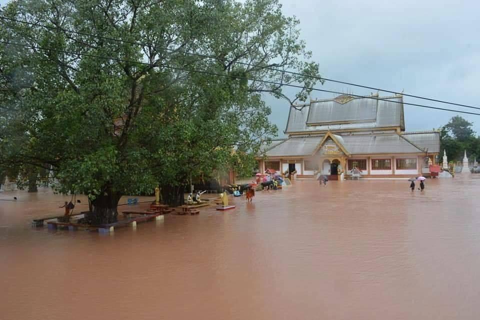 A temple underwater in Khammouane Province