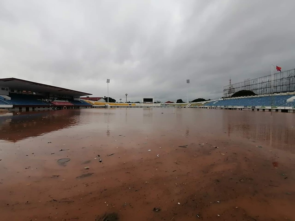 Champasack Stadium Filled With Water